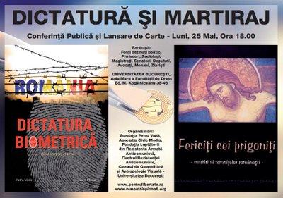 Afis Conferinta Civic Media Petru Voda Dictatura Biometrica si Martiraj